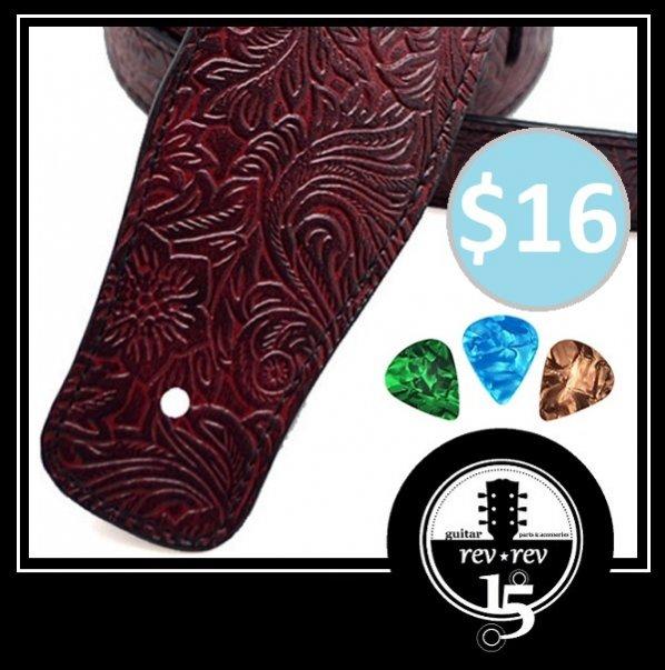 Name:  Embossed PU Leather Guitar Strap - Scarlet Red -021.jpg Views: 34 Size:  66.8 KB